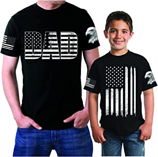 Dad and Son Matching Shirts for Patriotic Army Marine Father Gift T-Shirt with American Flag