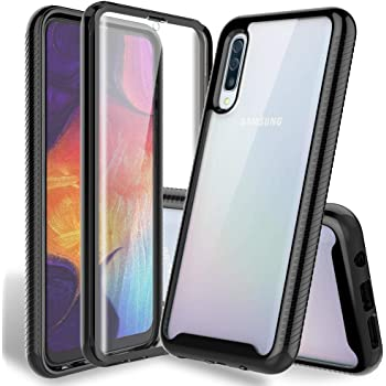 Amazon Com Hatoshi Samsung Galaxy A50 Case With Built In Screen Protector Heavy Duty Protection Crystal Clear Back Slim Fit Armor Shockproof Rubber Bumper Full Body Protective Phone Cover For Galaxy A50 Black Electronics