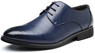 Comfortable Men's formal business shoes classic matte upper breathable lining shoes fashion wear oxford shoes dress shoes durable leather shoes Oxford (Color : Blue, Size : 8MUS)