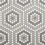 Soulscrafts Porcelain Ceramic 1 Inch Hexagon Mosaic Tile for Kitchen Backsplash Bathroom Floor & Wall Tile (White & Grey Mixed;10 Sheets/Box)