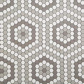 Soulscrafts Porcelain Ceramic 1 Inch Hexagon Mosaic Tile for Kitchen Backsplash Bathroom Floor & Wall Tile  White & Grey Mixed 10 Sheets/Box