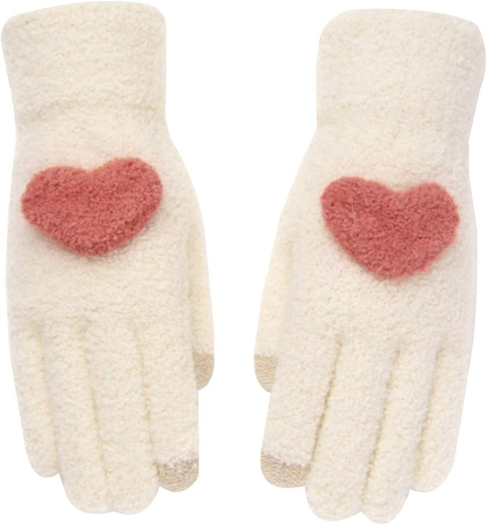 FOLDING Gloves Winter Ladies' Warm Gloves, Non-Slip Knitted Touch Screen Warm Cuff Driving Gloves (Color : Beige)