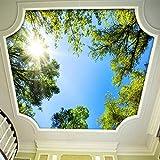 MAZF 3D-Wandbild, Tapete, Landschaft, Himmel, Deckenbild, Tapete, Sonnenlicht, Grün, Wald, Hotel, Restaurant, Wohnzimmer