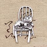 LLBBSS 8 Piezas Encantos Gato Perezoso Acostado En Una Silla 40X23 Mm Colgantes De Color Plata Antigua Diycrafts Haciendo Hallazgos Hechos A Mano