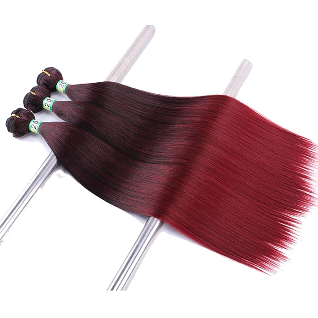 HOHYLLYA ブラジルのストレートヘアエクステンションミックスカラーグラデーション3バンドル黒ワインレッド織りナチュラル探している合成髪レースかつらロールプレイングウィッグロングとショート女性自然 (色 : ワインレッド, サイズ : 22inch)