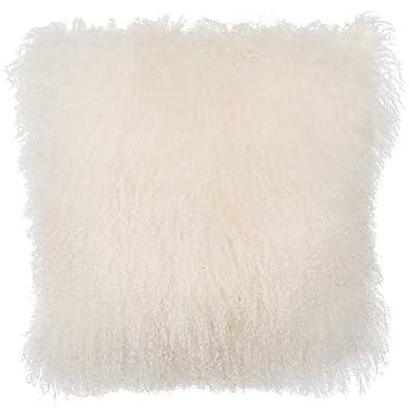 SLPR Mongolian Lamb Fur Throw Pillow Cover (24'' x 24'', Natural White)   Real Sheep Fur Decorative Cushion Cover Case