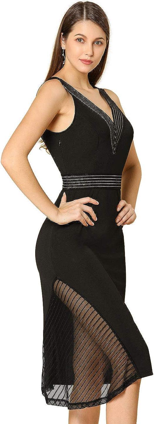 Allegra K Women's Bodycon Striped Detail Sleeveless Deep V Neck Cocktail Midi Dress