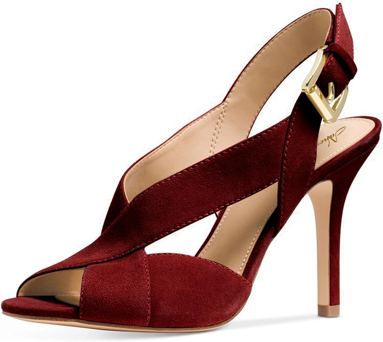 NJ Women Peep Toe Cross Strap Sandals Stiletto High Heel Slingback Suede Dress Pumps