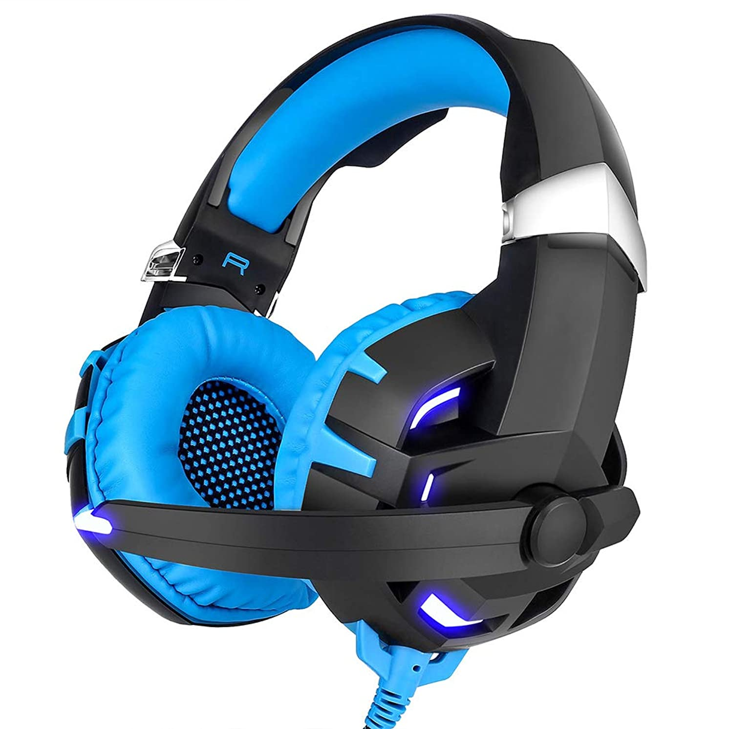 owhelmlqff K2 7.1 Surround Sound Gaming Headset Wired Headphones for PS4 Xbox One Computer Blue