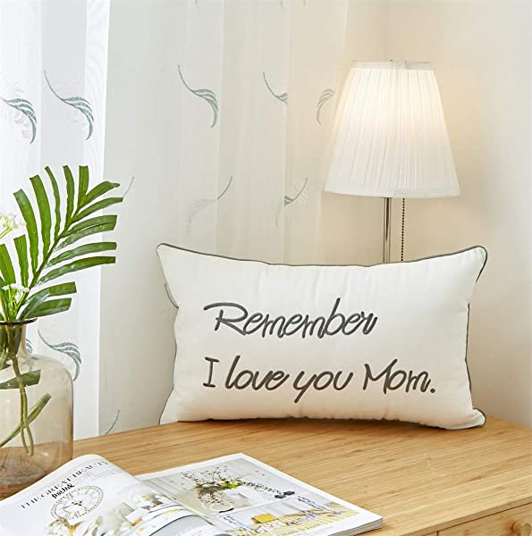 Sanmetex Lumbar Pillow Cover Remember I Love You Mom Pillow Case Decorative Cushion Covers For Nana Grandma Mom Sofa Couch Chair Office Car 12 X 20