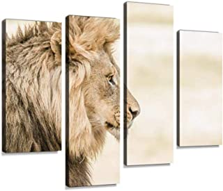 Side profile of a Lion Canvas Print Artwork Wall Art Pictures Framed Digital Print Abstract Painting Room Home Office Deco...