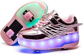 comprar comparacion Unisex Niñas Niño LED USB Recargable Zapatillas con Ruedas Single Doble Ronda ala Neutra Automática de Skate de Patìn Zapa...