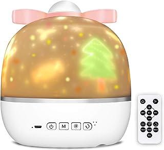 Albelt 【最新改良版】星空ライト スタープロジェクターライト プラネタリウム ランプ 常夜灯 360度回転 USB充電 音楽再生 Bluetoothリモコン 寝かしつけ おもちゃ ナイトライト 6種類投影映画フィルム 3色モード 3段階...