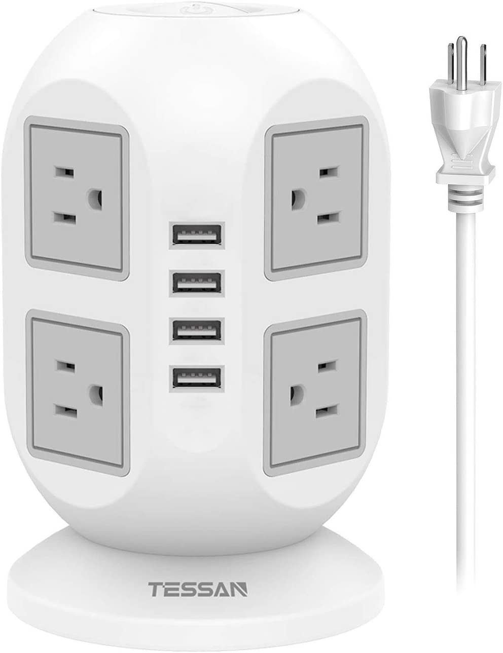 Power Strip Tower TESSAN Surge Protector 8 AC Outlets 4 USB Ports, Long Extension Cord 15ft, Charging Station Power Strip Extension Cord Multiple Outlets for Home, Office, Dorm Room Essentials