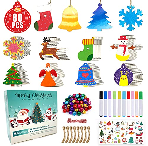Christmas Crafts Kit Christmas Wooden Slices DIY Arts 80pcs Blank Cutouts Ornaments Make Your Own Gift Tags Decorations for School Family Activities Party Favor Supplies with 80 Small Bells 10 Markers