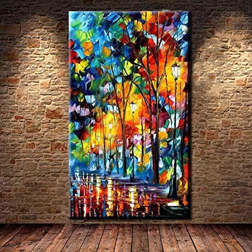 ZXMPGYH Malen Malerei-Hauptdekor-Kunst-Bild handgemaltes Baum-Landschaftsgemälde des Messer-3D