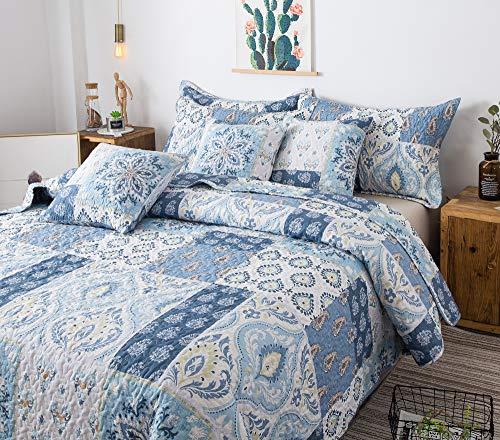 Tache Colorful Print Patchwork Floral Lightweight Quilted Bedspread Set (King, Seaside Villa)