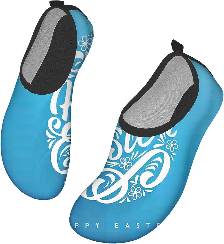 Water Sports Shoes Barefoot Quick-Dry Aqua Yoga Socks Slip-on for Men Women Blooming Sketch Flowers with Swirls Hand Lettering Easter Celebration Pattern Women12.5-13.5/Men10-10.5