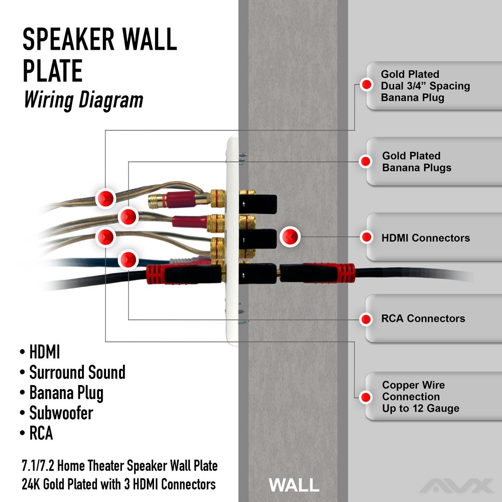 hdmi surround sound wiring diagram amazon com 7 1 7 2 home theater speaker wall plate 24k gold  7 1 7 2 home theater speaker wall plate