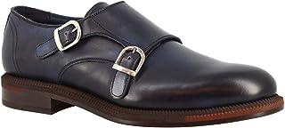 Leonardo Shoes Zapatos Formales Hechos a Mano con Doble Monje para Hombre en Piel de Becerro Azul - Número de Modelo: 891G...