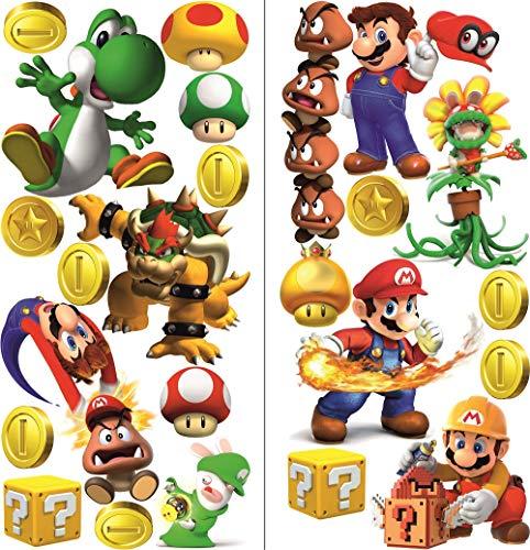 Super Mario Wandtattoo für Schlafzimmer Jungen und Mädchen 2 Blatt super mario Pattern 750mmX 350mm