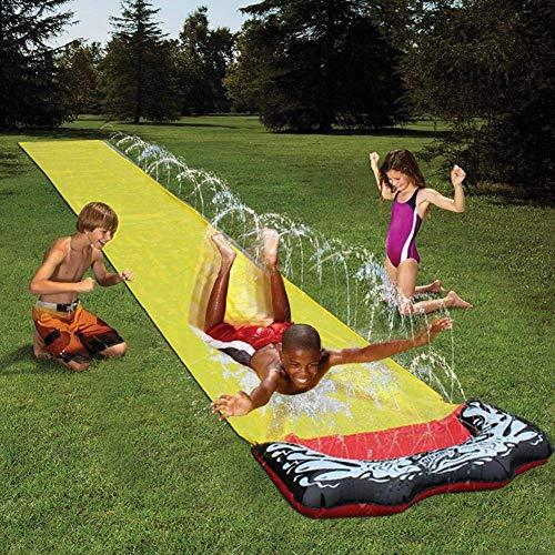 FENGLI Toboganes de agua de césped, diapositivas de agua inflable, resbalón incorporado en el aspersor de agua, tobogán de agua para niños, adultos, familia, juguetes de agua al aire libre para jardín