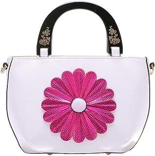 Trendy Lady Flower Bag Messenger Bag Carved Soft Leather Bag Sweet Sun Flower Handbag Shoulder Bag Zgywmz (Color : White, Size : 22 * 10 * 21cm)