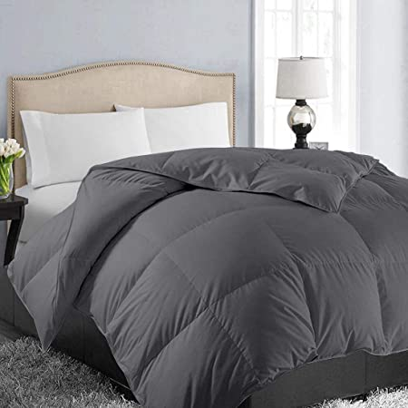 EASELAND All Season King Size Soft Quilted Down Alternative Comforter Reversible Duvet Insert with Corner Tabs,Winter Summer Warm Fluffy Hypoallergenic,Dark Grey,90x102 inches