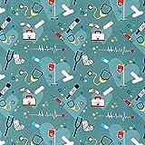 RosaliNum Tela de algodón de 0,5 m, color azul petróleo, tiritas de primeros auxilios, jeringa, vendaje, termómetro de fiebre, frecuencia cardíaca, 1,4 m de ancho