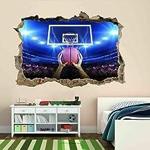 Jugador del jugador de la cancha de baloncesto Tiro de la pared 3d pegatinas de pared mural calcomanía 100x150cm