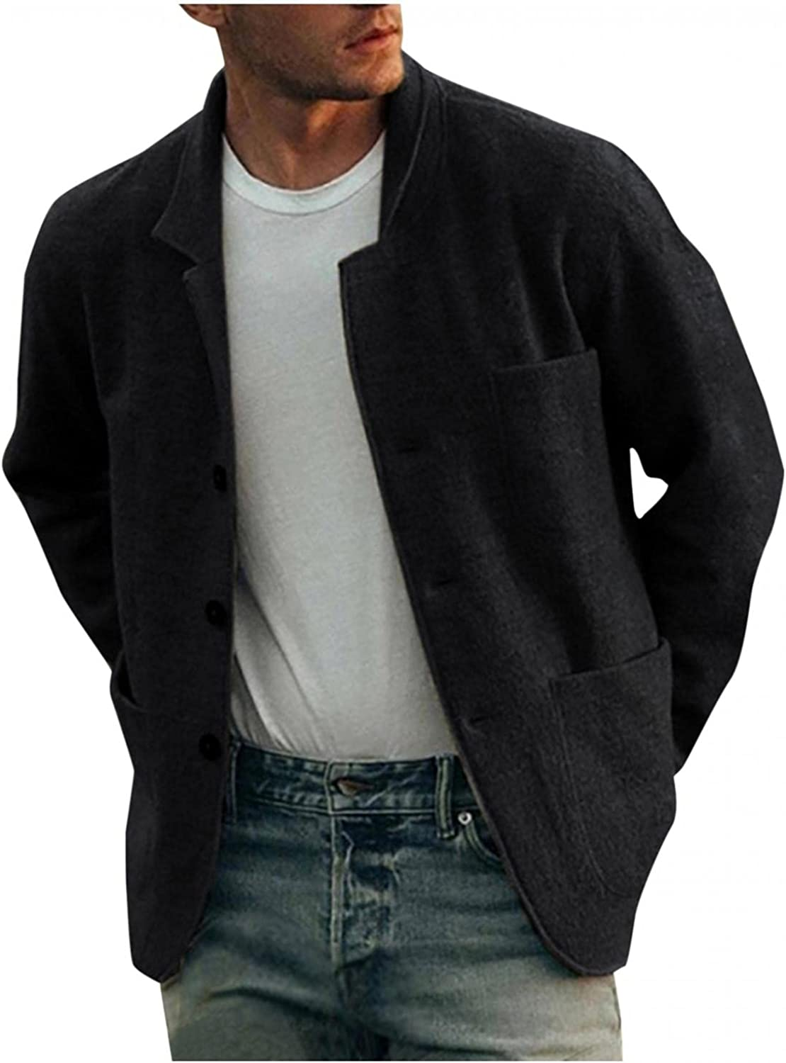Men's Corduroy Jackets Stand Collar Single Breasted Peacoats Classic Wool Blend Button Down Overcoat Casual Outdoor Top