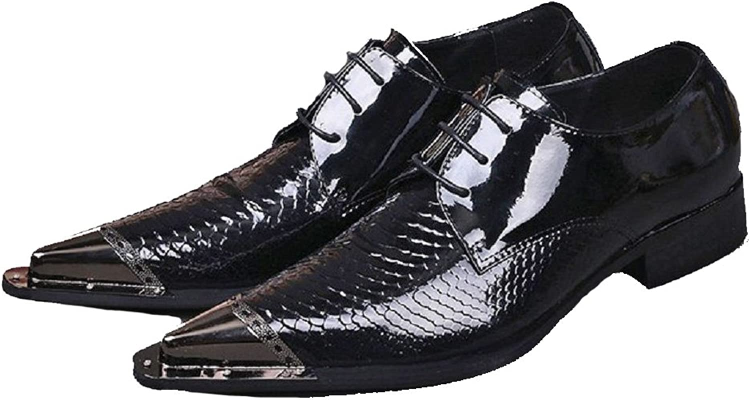 Cover Plus Size 5-12 New Black Genuine Patent Leather Dress Oxfords Mens shoes