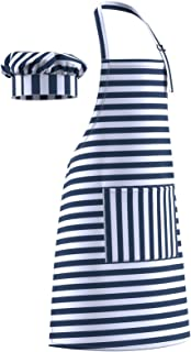 Dapper&Doll Blue Stripe Kids Chef Hat and Apron for Boys Girls Ages 4-10