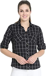 C.Cozami Women's Casual Checkered Full Sleeves Cotton Shirt