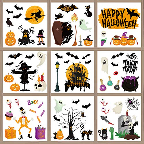 Garneck Halloween Aufkleber Fenster Sticker Halloween Fensterbild Fensteraufkleber Wandaufkleber Halloween Party Dekoration DIY Home Deko 70 pcs