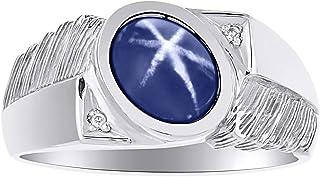 Diamond & Blue Star Sapphire Ring 14K White Gold Band