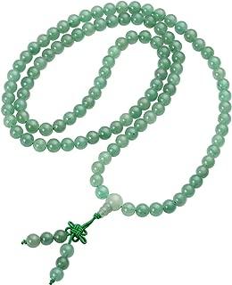 Top Plaza Unisex 108 Natural Gemstone Buddha Prayer Beads Mala Bracelets Buddhist Rosary Necklace