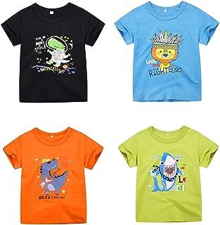 TABNIX Boys' 4-Pack Short Sleeve T-Shirts Top Tee Size 1-6 Years Toddler Little Boys' Crewneck Cotton Tee Shirt