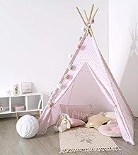 EMAKO Tält för barn, INDIAN, TIPI, 120 x 120 x 160 cm, Färg: rosa