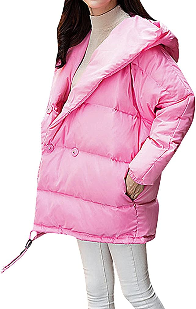 US&R Women 1 Color Oversized Quilted Button Up Hooded Down Winter Jacket
