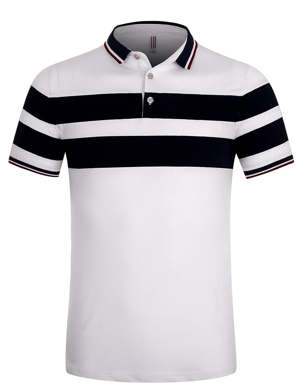 織機新鮮な抜け目がないAPTRO(アプトロ)ポロシャツ 半袖 メンズ ストライプ 純色 吸汗速乾 スポーツウェア ゴルフウェア