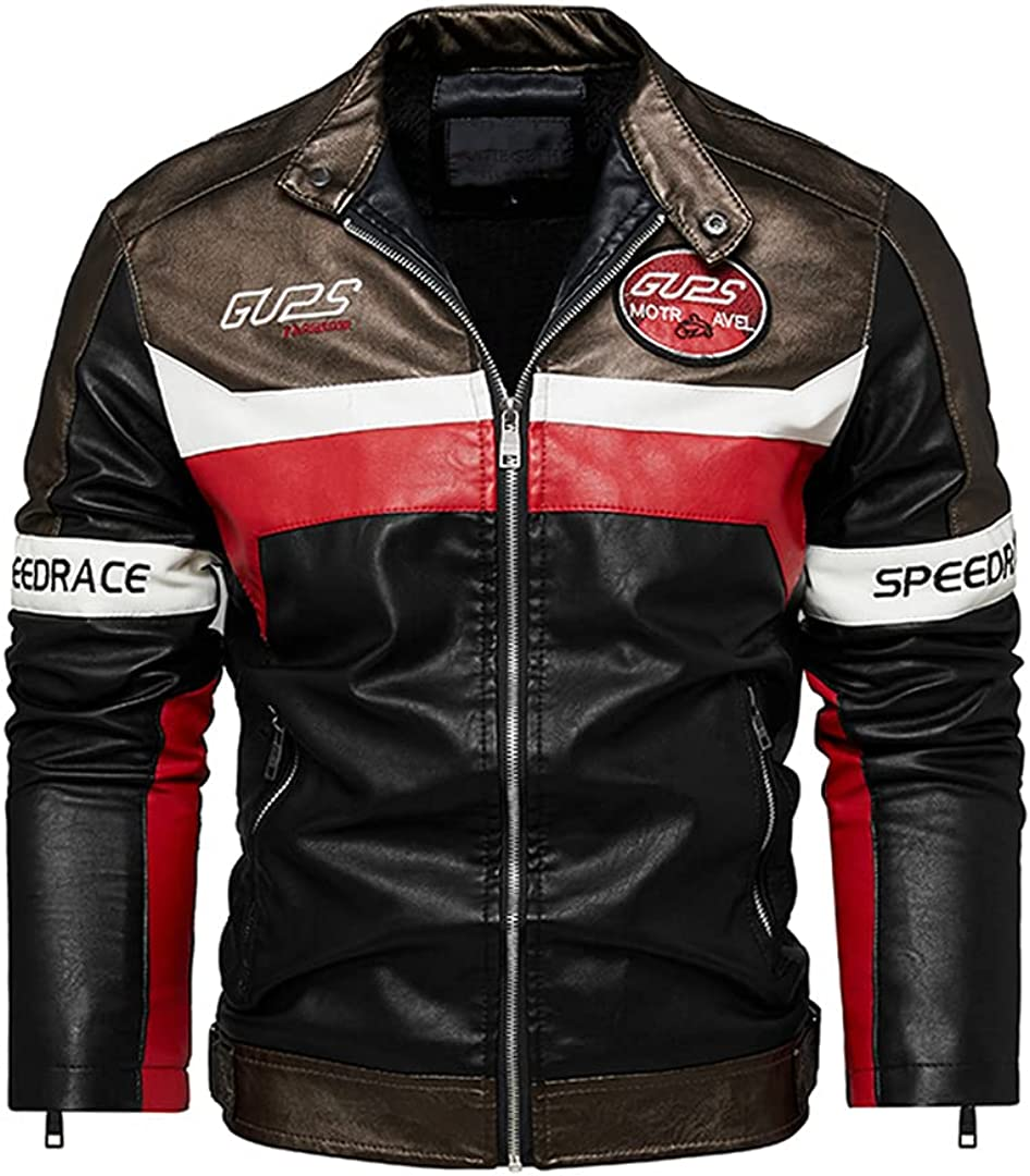 Men's Autumn And Winter Coat Leather Jacket Motorcycle Style Male Racing Car Casual Jackets