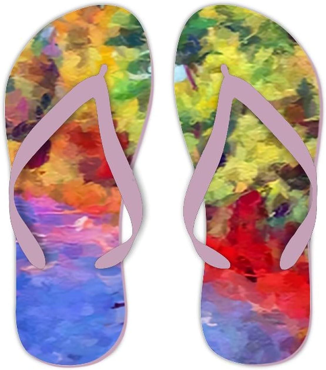 Summer Flip Flops for Men Women Art Color Landscape Soft Lightweight Non Slip Sandals for Shower Beach Pool Bathroom Flat 10.5