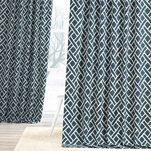HPD Half Price Drapes PRCT-D07D-108 Printed Cotton Curtain (1 Panel), 50 X 108, Martinique Blue