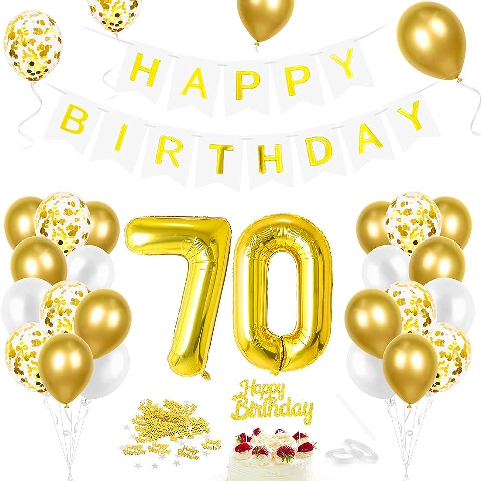Luftballon 70. Geburtstag Golden, Geburtstagsdeko 70 Jahr, Ballon 70. Geburtstag, Riesen Folienballon Zahl 70, Happy Birthday Folienballon 70, Ballon 70 Deko zum Geburtstag Mann Frau