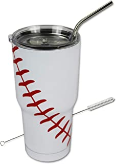 Baseball Tumbler Cup 30 oz with Lid, Straw and Cleaner, 30 oz Gift for Mom Men Sports Travel Coffee Mug, Stainless Steel, Vacuum Insulated, Keep Drinks Cold and Hot