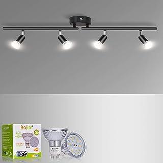 Plafonnier LED 4 Spots Orientables, Bojim Luminaire Plafonnier Pivotants Noir Mat Moderne pour Salon Chambre Cuisine Coulo...