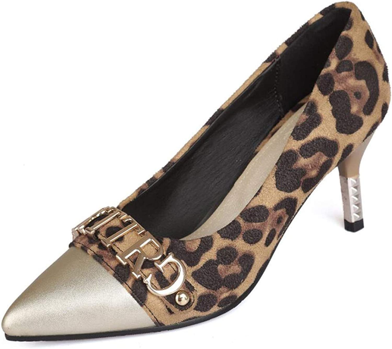 Zxcvb Women's High Heel Sandals Pumps Sexy Leopard Design Block Sandal Stiletto Heels Fashion Party shoes for Women