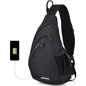Sling Bag Sling Backpack with USB Port Unisex Shoulder Bag Water Repellent Crossbody Bag for Men Lightweight Casual Daypacks