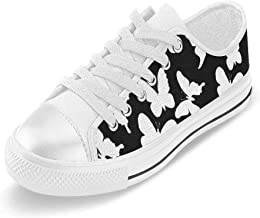 INTERESTPRINT Butterflies Text Note Canvas Shoes Slip-on Lace Up Sneakers for Man Size(6-14) US